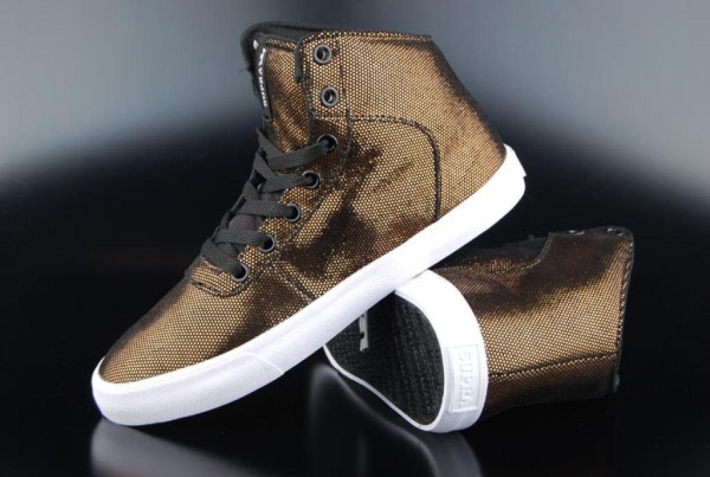 Supra Womens Cuttler Black Gold White Sneaker US8/EU39