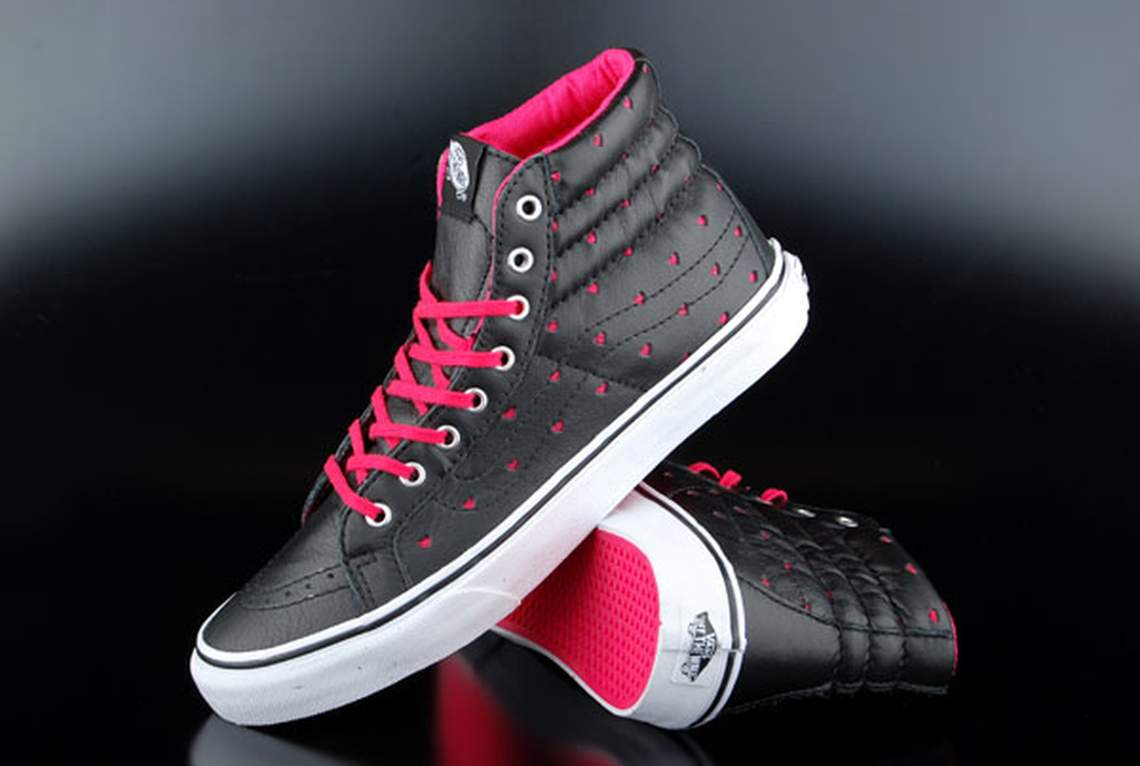 ec103734b605 Vans Sk8-Hi Slim Leather Perforate Hearts Black True White