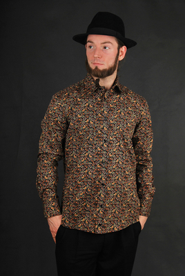 Kaiser Friedrich Hemd Paisleys Black Brown Gr. S