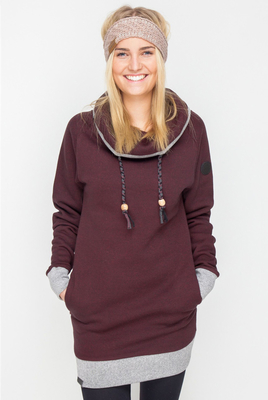 Shisha Klaasje Ruby Red Melange Longhooded Pullover