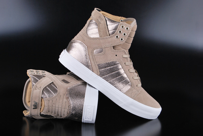 Supra Skytop Taupe White High Top Sneaker