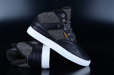 Djinns Thomson Left Sports Black Mid Top Sneaker